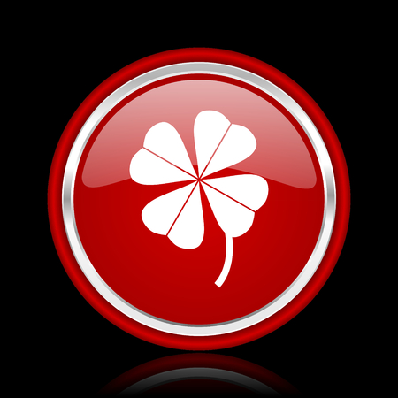 red clover: four-leaf clover red glossy cirle web icon on black bacground Stock Photo