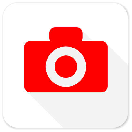 picto: camera red flat icon with long shadow on white background