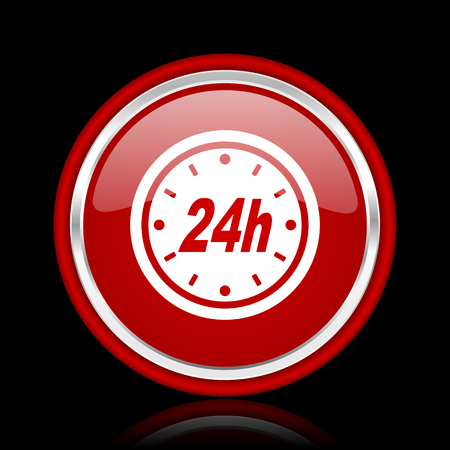 24h: 24h red glossy cirle web icon on black bacground Stock Photo