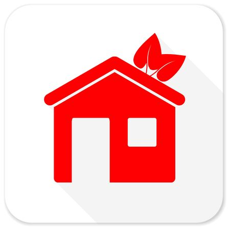 apartment search: house red flat icon with long shadow on white background