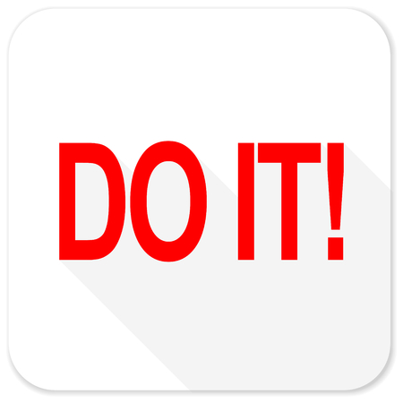 just do it: do it red flat icon with long shadow on white background Stock Photo
