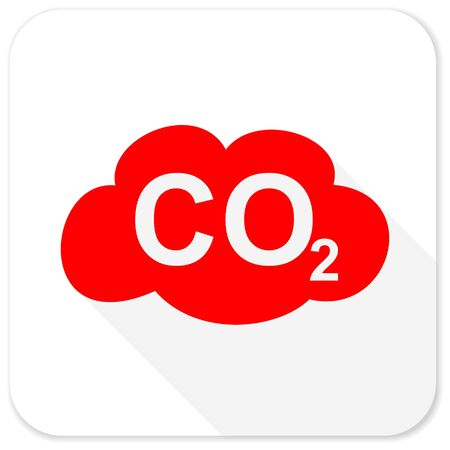 dioxide: carbon dioxide red flat icon with long shadow on white background