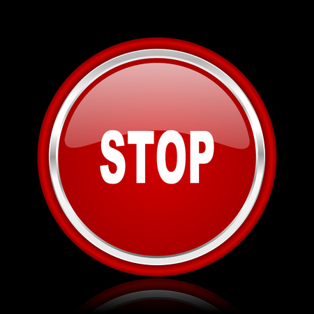 proscribed: stop red glossy cirle web icon on black bacground