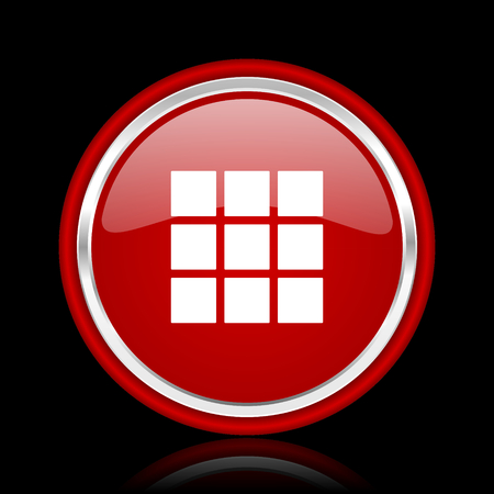 thumbnails: thumbnails grid red glossy cirle web icon on black bacground Stock Photo