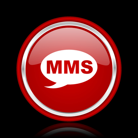 mms: mms red glossy cirle web icon on black bacground