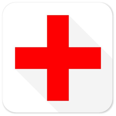 pathology pharmacy: plus red flat icon with long shadow on white background