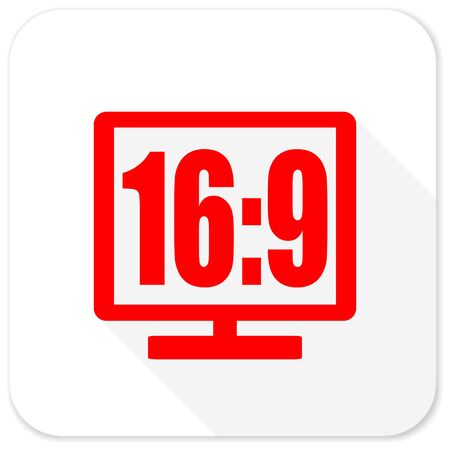 16 9 display: 16 9 display red flat icon with long shadow on white background