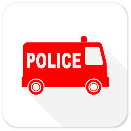 highway patrol: police red flat icon with long shadow on white background