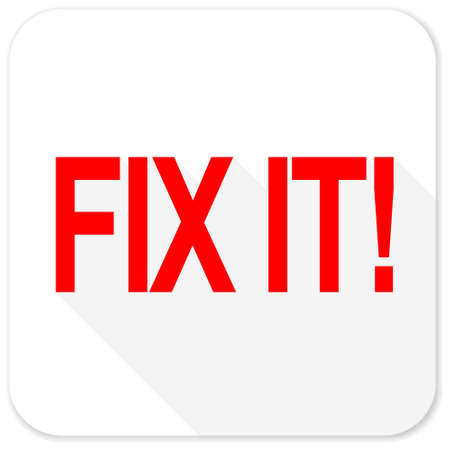 it professional: fix it red flat icon with long shadow on white background
