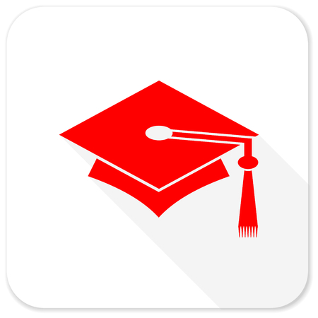 doctorate: education red flat icon with long shadow on white background
