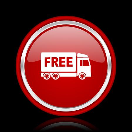 délivrance: livraison gratuite rouge glossy icon cirle web sur bacground noir