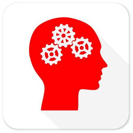 brainy: head red flat icon with long shadow on white background