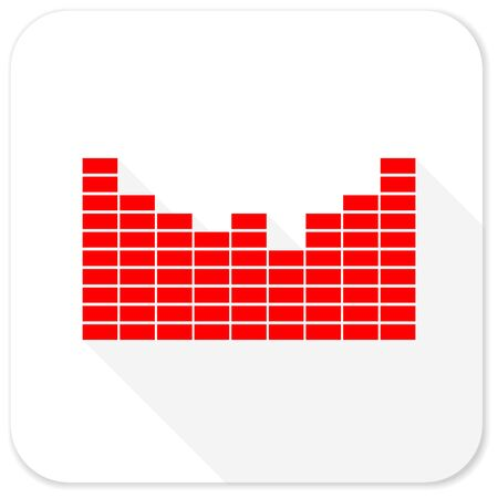 red sound: sound red flat icon with long shadow on white background