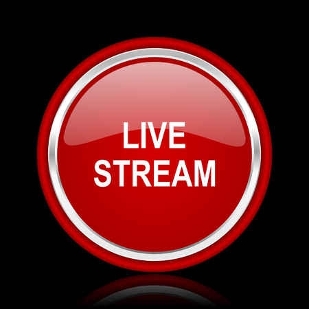 news cast: live stream red glossy cirle web icon on black bacground