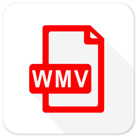 wmv: wmv file red flat icon with long shadow on white background