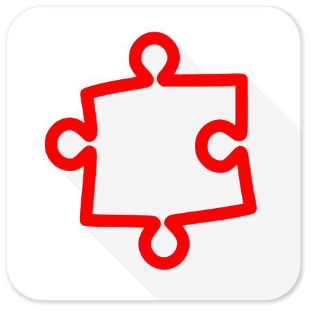 plugin: puzzle red flat icon with long shadow on white background