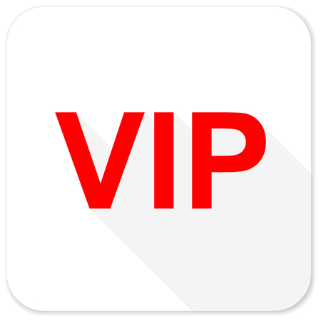 celebrities: vip red flat icon with long shadow on white background