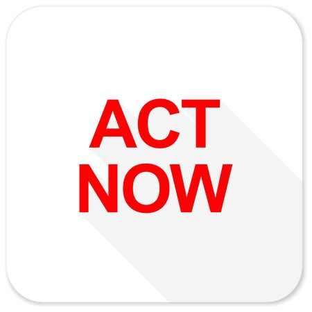 act: act now red flat icon with long shadow on white background Stock Photo