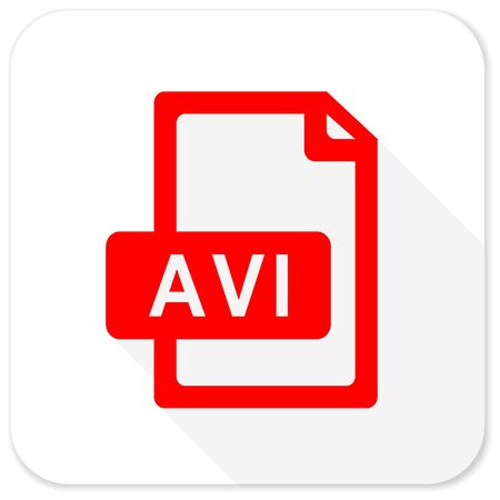 avi: avi file red flat icon with long shadow on white background