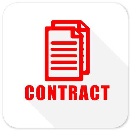 contraction: contract red flat icon with long shadow on white background Stock Photo