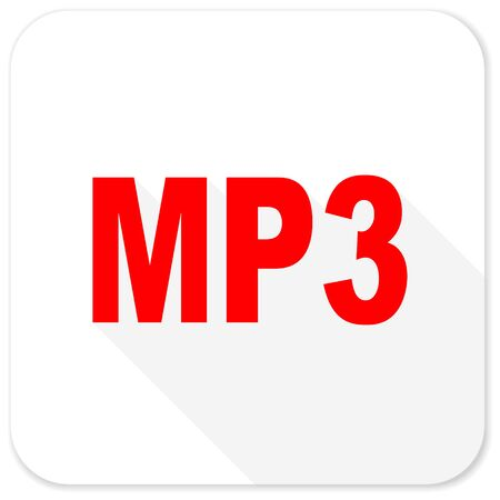 mp3: mp3 red flat icon with long shadow on white background