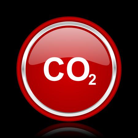 dioxido de carbono: el dióxido de carbono de color rojo brillante icono cirle web en fundamento negro