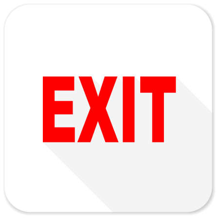 emergency exit sign icon: exit red flat icon with long shadow on white background Stock Photo