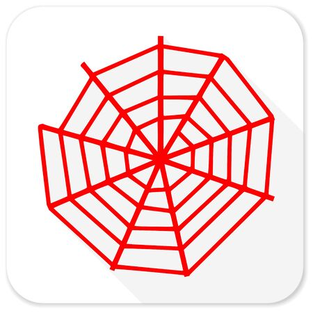 spider web: spider web red flat icon with long shadow on white background