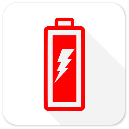 accuse: battery red flat icon with long shadow on white background