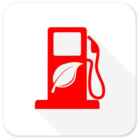 canola: biofuel red flat icon with long shadow on white background