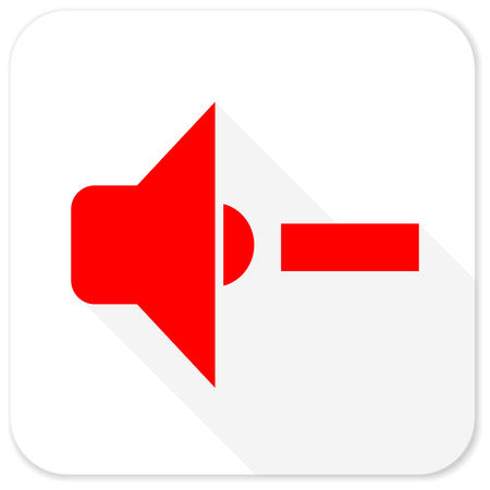 square button: speaker volume red flat icon with long shadow on white background