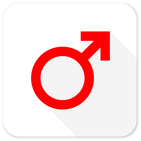 homosexual sex: male red flat icon with long shadow on white background