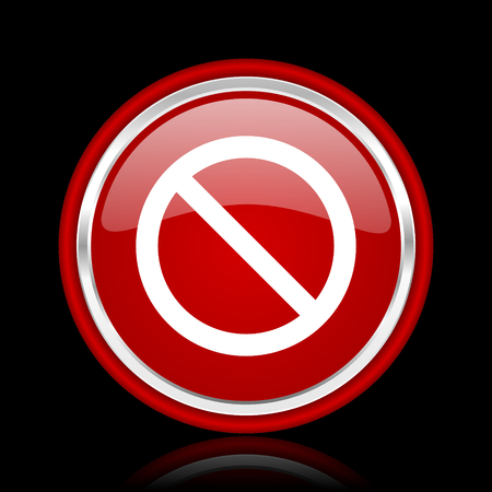 access denied: access denied red glossy cirle web icon on black bacground Stock Photo