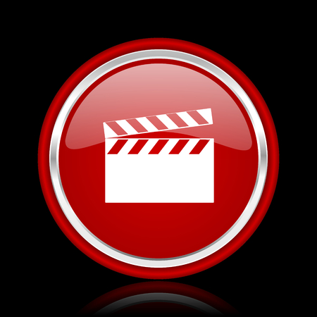 directors cut: video red glossy cirle web icon on black bacground