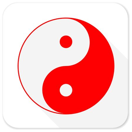 ying and yang: ying yang red flat icon with long shadow on white background