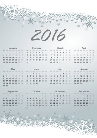 mondays: calendar 2016 monday first Stock Photo