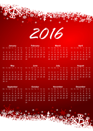 2016 red calendar