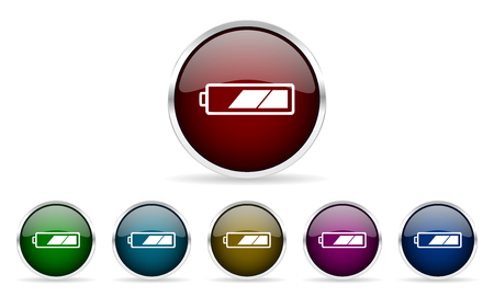 accuse: battery colorful glossy circle web icons set Stock Photo