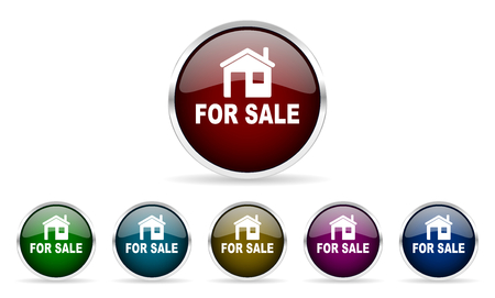 home sale: for sale colorful glossy circle web icons set