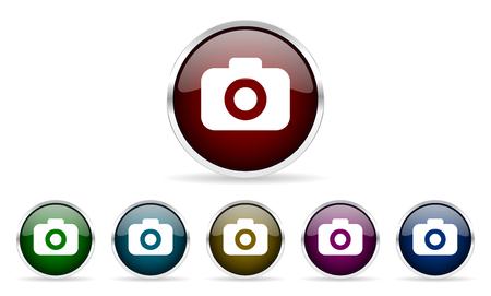 picto: photo camera colorful glossy circle web icons set
