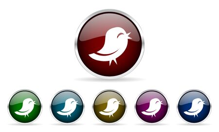 twitter: twitter colorful glossy circle web icons set Stock Photo