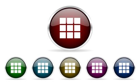 thumbnails: thumbnails grid colorful glossy circle web icons set