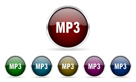 mp3: mp3 colorful glossy circle web icons set