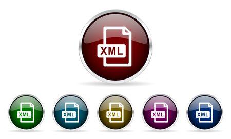 xml: xml file colorful glossy circle web icons set Stock Photo