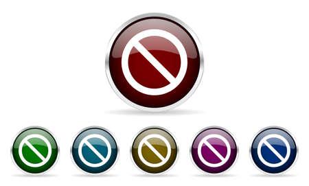 web access: access denied colorful glossy circle web icons set