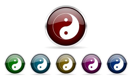 karma concept: ying yang colorful glossy circle web icons set
