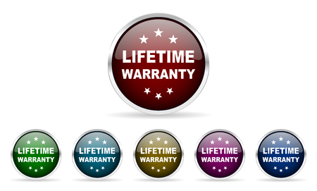 lifetime: lifetime warranty colorful glossy circle web icons set Stock Photo