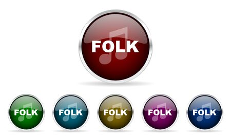 folk music: folk music colorful glossy circle web icons set Stock Photo