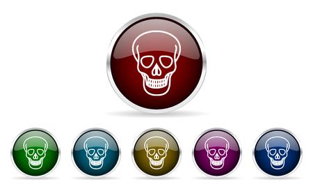 pirating: skull colorful glossy circle web icons set