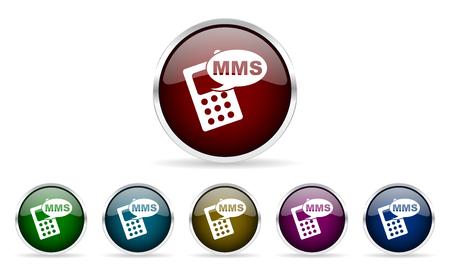 mms: mms colorful glossy circle web icons set